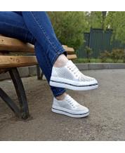 Модные летние кеды белая перфорация на белой платформе