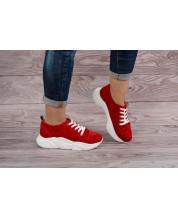 Стильные кроссовки на белой подошве из натурального красного замша