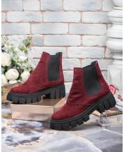Ботинки с резинками бордовый замш