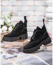 Ботинки на шнурках чёрный замш