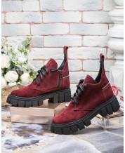 Ботинки на шнурках бордовый замш