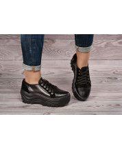 Кроссовки на модной черной подошве из натуральной черной кожи и черного замша