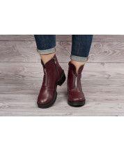 Стильные ботинки из бордовой кожи + декор молния