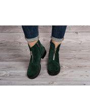 Стильные ботинки из натурального зеленого замша +декор змейка