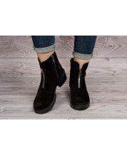 Стильные ботинки из черного замша + декор молния
