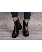 Стильные ботинки из черной кожи + декор молния