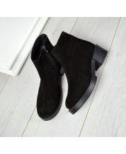 Ботиночки из натурального черного замша/ рабочая молния/ очень удобные