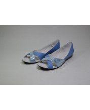 Открытые балетки  голубая кожа № 237/ и кожа №220