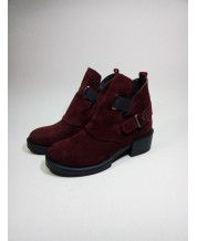 Ботинки Hermes с резинками из бордового замша с резинками
