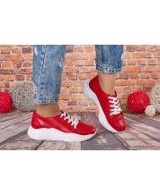 Кроссовки на белой подошве из натуральной красной кожи