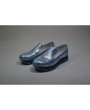 Стильные кеды из кожи №220 на серо голубой подошве