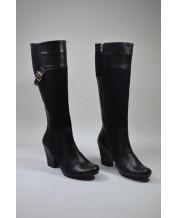 стильные сапоги на устойчивом каблуке из черной натуральной кожи и замши