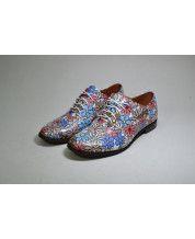 Модные яркие туфли на низком ходу из кожи ромашки