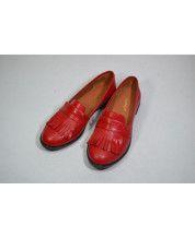 Туфли с бахрамой из красной кожи