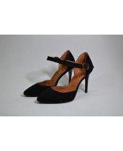 Элегантные туфельки с пряжкой из черного замша