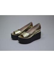 Открытые туфли из кожи золотой кристалл №350