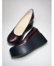 Стильные туфли из натуральной кожи БОРДОВЫЙ КРИСТАЛЛ